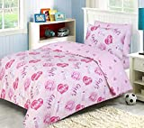 Indus Textiles Kids Bedding Sets - 100% Soft Cotton - Duvet Cover With Fitted Sheet and Pillowcases Matching - Reversible - Girls Rule - Toddler Complete Set