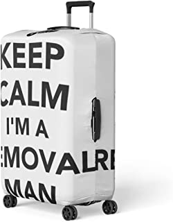 Pinbeam Luggage Cover Belpacker Keep Calm I Am Removal Man Box Travel Suitcase Cover Protector Baggage Case Fits 26-28 inches
