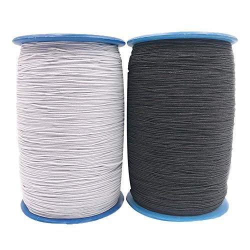 Junerain - Juego de 2 rollos de cuerda de látex elástica para costura de hilo de coser