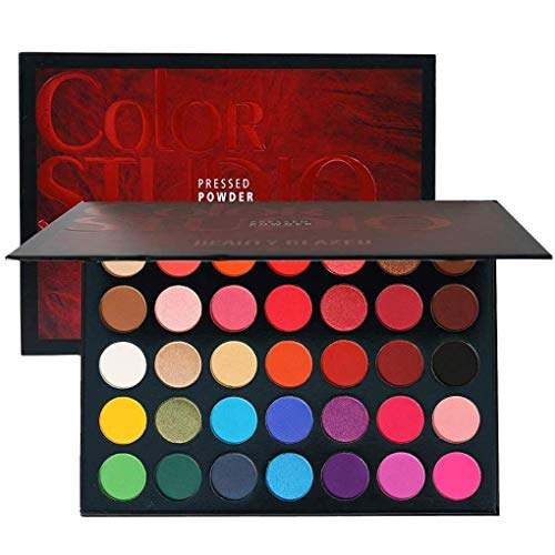 Sweatproof Matte and Shimmer Eyeshadow Make up Palettes Highly Pigmented 35 Colors Professional and Home Make up Christmas Palette Blendable Pressed Powder Eye Shadow
