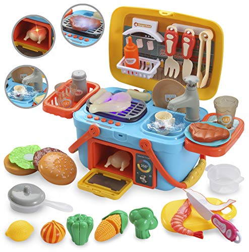 JOYIN Pretend Kitchen amp Picnic Cutting Food Toy Playset Portable Carry Around Picnic Basket with Sink Faucet Grill Area Oven Music and Lights Color Changing Toys for Kids