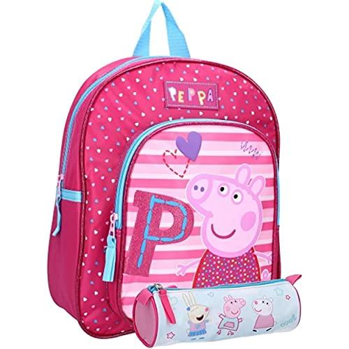 Peppa Pig, zaino per bambini per asilo, 31 x 25 x 9 cm, con astuccio