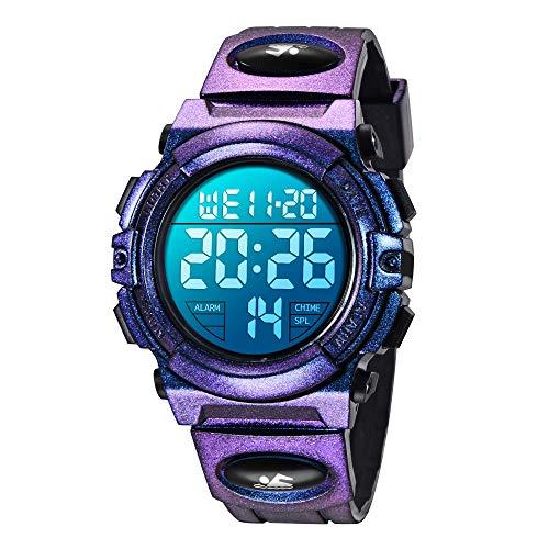 子供腕時計 ボーイズスポーツウォッチ アウトドア多機能防水 アラート 日付曜日表示 デュアルタイム LED アナログ表示 女の子男の子 デジタルウォッチ (パープル)