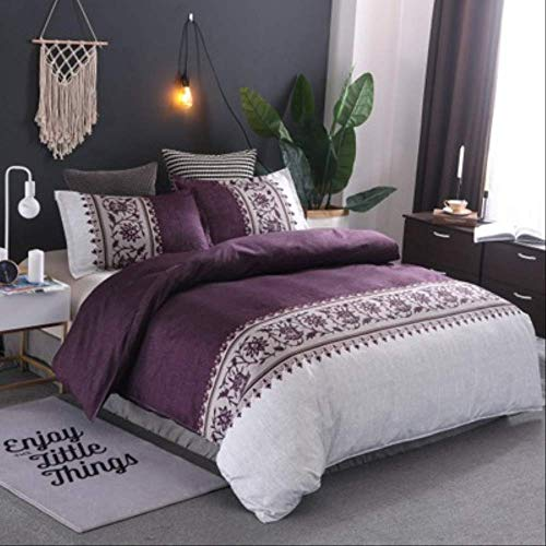 JGYJ Ethnic Style Bedding Simple Plain Quilt Cover Pillowcase Home Textile Three-piece Polyester Anti-wrinkle 228x228cm Violet