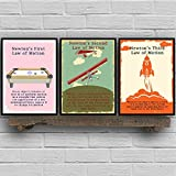 nr Newtons Gesetz der Bewegung Vintage Poster und Drucke Physik Wandkunst Leinwand Gemälde Bilder Büro Wanddekoration -30X40cmx3 Rahmenlos