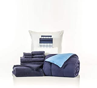 OCM 16 Piece Starter Pak Navy and Cameron Plaid Twin XL College Dorm Bedding and Bath Set
