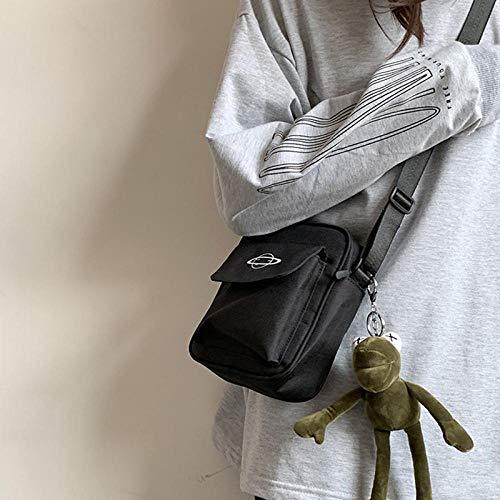 VFJLR Frauen Leinwand Tasche Japan Style Mädchen Kleine Umhängetaschen Koreanische Mode Lässig Weibliche Messenger Umhängetasche Geldbörse Handytasche schwarz mit Anhänger