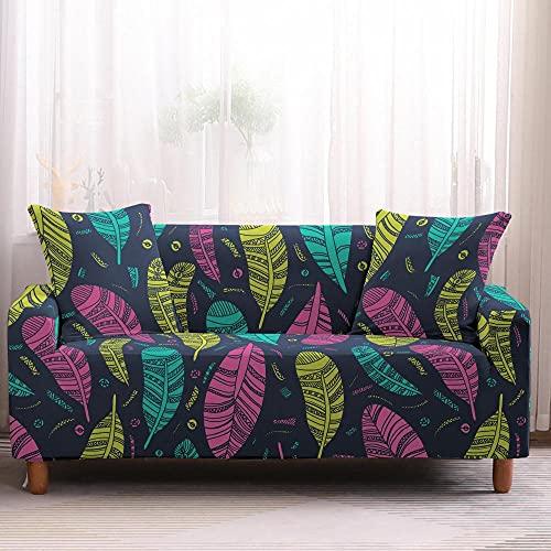Fundas de Sofá - Funda Cubre Sofá Elasticas de Protector de sofá con Estampado Plumas de Colores 1 Plazas, Suave Poliéster Universal Funda Cubre Sofas Ajustables