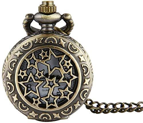 N/ A Herren Taschenuhr Bronze Trompete Full Star Retro Taschenuhr Star Taschenuhr Trompete mit Kette für Herren Gentleman