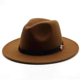 Lei Zhang Unisex Men Women Wool Fedora Hat With Belt Autumn Jazz Hat Winter Church Trilby Fascinator Hat Size 56-58CM