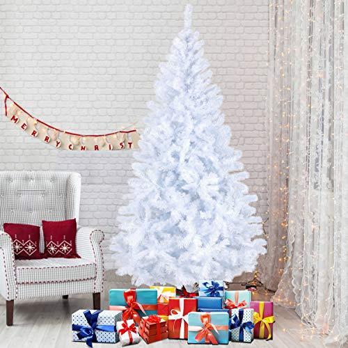 Seekavan Albero di Natale Bianco Verde, Albero di Natale Artificiale in PVC Ignifugodi in Diverse Misure (Bianco, 1.8)