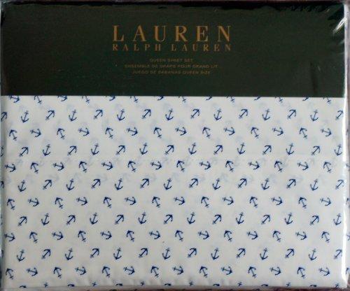 Lauren Ralph Lauren QUEEN 4pc Sheet Set Nautical Navy Blue Anchors