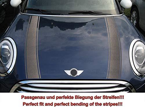 Streifen Stripes Aufkleber Motorhaube für F55 F56 F57 Mini Cooper (Anthrazit metallic, Design 2)