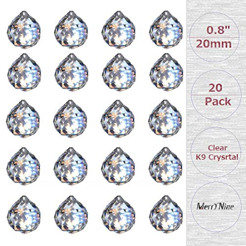 MerryNine Clear Crystal Ball Prism Suncatcher Rainbow Pendants Maker Hanging Crystals Prisms for Windows for Feng Shui for Gift 08quot/20mm 20Pack