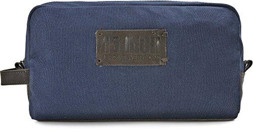 15 INCH BY JEROME WESTFORD, Trousse de toilette Unisexe en cuir toile, sacs à cosmétiques, 30 x 16,5 x 8,5 cm (l x H x P), couleur: bleu foncé