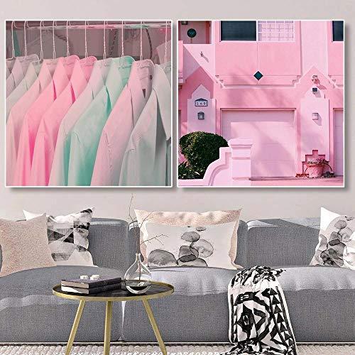 Cartel escandinavo, edificio rosa, armario, lienzo, pintura, habitación moderna para niñas, salón, decoración, arte de pared, decoración impresa, imágenes 50x50cmx2 sin marco