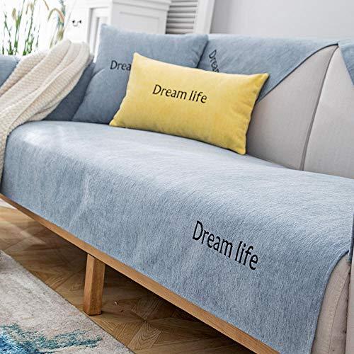 YUTJK Funda de sofá de Esquina,Fundas de Asiento de sofá de Tela para Sala de Estar,Funda Protectora de Muebles,para salón,Cubierta de sofá de Vida de Chenille Dream,Azul_45×45cm(Almohada/Incluido
