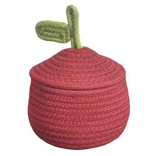 Inwagui Baby Aufbewahrungskorb Baumwollseil Weben Aufbewahrungsbox mit Deckel Kleine Deko Korb Organizer für Kinderzimmer, Wohnzimmer, Kosmetik - Rot