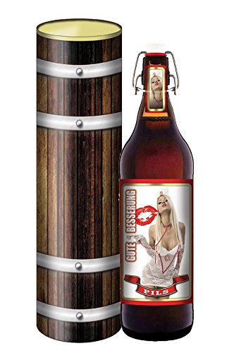 Gute Besserung - Bier 1 Liter Flasche mit Bügelverschluss in der Geschenkdose im Holzdesign