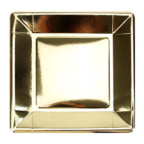 """Packung 100 Gold-Einweg-Pappteller aus glänzender Folie, Quadratische 9"""", Partyzubehör für Vorspeise, Mittagessen, Abendessen oder Dessert"""