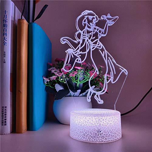 Lámpara De Ilusión 3D, Luz De Noche Led Para Dormitorio De Niños, Dibujos Animados Mágicos, Princesa Jazmín De Aladino, Regalo Para Niños, Decoración Navideña