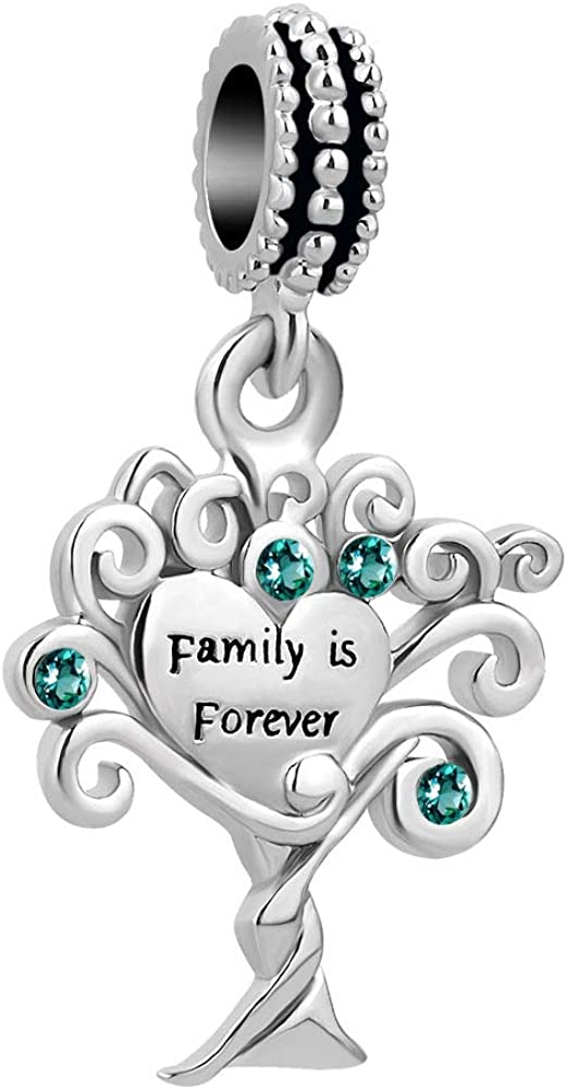 CharmSStory Family Tree of Life Bead Charms Pendant for Snake Chain Bracelet Necklace