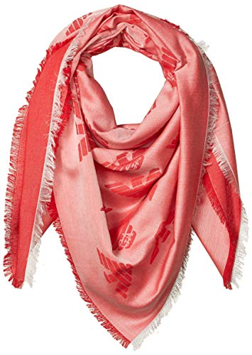 Emporio Armani Damen Cotton-Blend Square Scarf with Logo Detail Modischer Schal, Rot (Graphic Red), Einheitsgröße