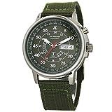 [ラドウェザー] 電波ソーラー腕時計 メンズ 100m防水 腕時計 lad017 (カーキ)