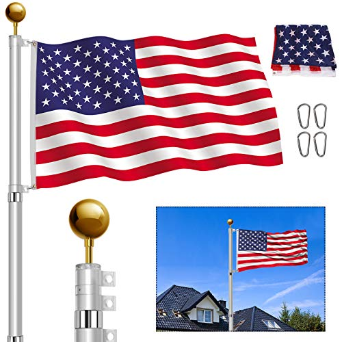 YIYO 25FT Telescopic Flag Pole Kit, Heavy Duty Aluminum Telescoping Flagpole Fly 2 Flags,Outdoor In ground Flagpole with 3'×5' American Flag and Gold Ball for Residential Commercial (25FT)