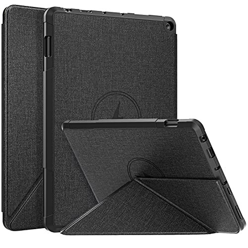 MoKo Funda Compatible con Nueva Kindle Fire HD 10 & 10 Plus Tableta (11ª Generación, 2021 Versión), Cubierta con Soporte Origami Múltiple Ángulos Visión Smart Case Carcasa TPU Magnético, Negro