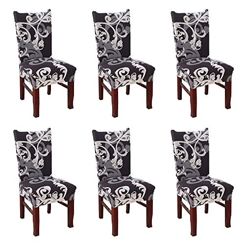 Argstar 6 Pack Dining Chair Covers, Botanical Printed Armless Chair Protector for Dining Room, Floral Kitchen Parson Chair Set of 6, Stretch Parson Chair Cover for Dining Room, Flowers