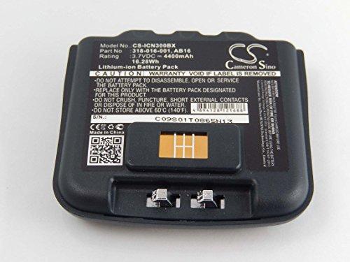 vhbw Li-Ion Akku 4400mAh (3.7V) für Barcode Scanner Intermec CN3, CN3E, CN4, CN4E wie 318-016-001, 318-016-002, AB15, AB16, AB9.