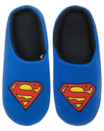 Perfecto para cualquier fan de CC Con el logo de Superman icónica azules zapatillas de tacón abierto de los hombres con detalle agarre único, el tamaño de la UE mercancía oficial de Superman