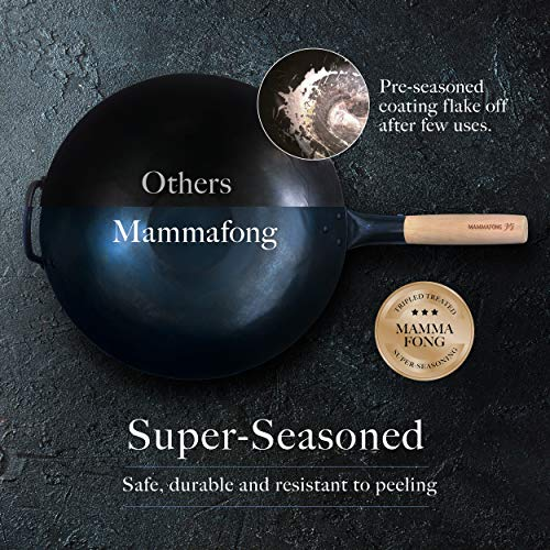 Product Image 4: Pre Seasoned Blue Carbon Steel Flat Bottom Wok -14 Inch Chinese Pow Wok – Traditionally Hand Hammered Woks and Stir Fry Pans by Mammafong