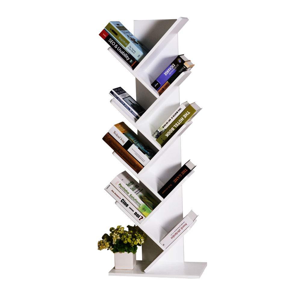 Facilehome Tree Bookshelf Bookcase Book Organizer 9-Tier Multipurpose Shelf Display Racks,White