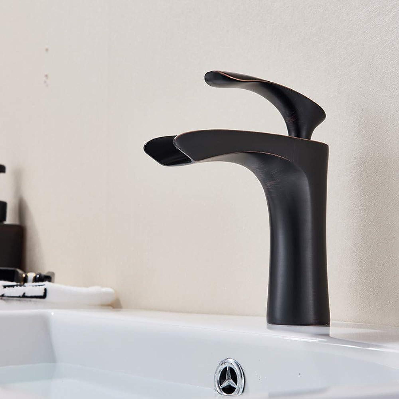 Bathroom Sink Tap Oil Rubbed Single Handle Waterfall Bathroom Basin Faucet Deck Mounted Single Handle Mixer Tap