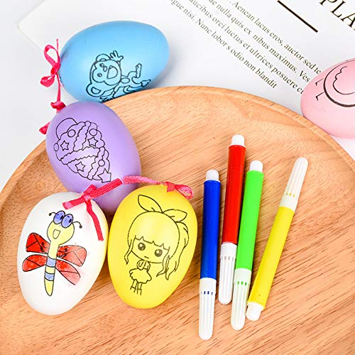 Huevos De Pascua para Niños Juguetes De Cáscara De Huevo Pintados A Mano Pintados A Mano De Dibujos Animados 5pcs