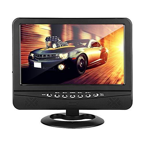 Televisor Portátil de 9,5 Pulgadas, Mini ángulo de Visión Amplio Visualización de HD Coche Analógico Móvil Completo DVD Televisión Color TFT LCD Reproductor de Video Soporte Sistema TV PAL/NTSC/SECAM
