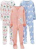 Simple Joys by Carter's 3-Pack Snug Fit Footed Cotton Pajamas para bebés y niños pequeños, Animal/Corazones, 5 años, Pack de 3