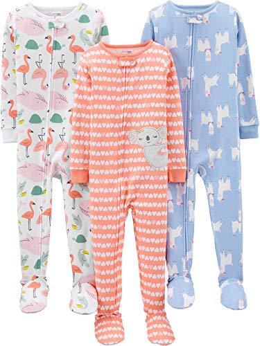 Simple Joys by Carter's 3-Pack Snug Fit Footed Cotton Pajamas para bebés y niños pequeños, Animal/Corazones, 6-9 Meses, Pack de 3