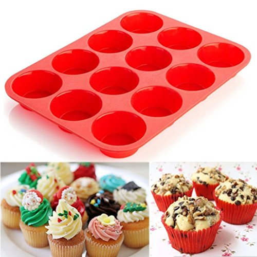 Moules à gâteaux, IMJONO 12 Cup Silicone Muffin Cupcake Baking Pan Non Stick Lave-vaisselle Micro-ondes Safe (29.5*22*2cm, Rouge)