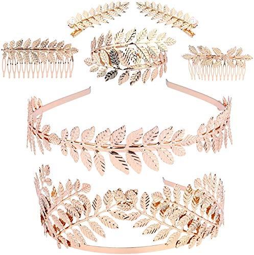 Auoeer 7 stücke Römische Göttin Stirnband Gold Blatt Zweig Haarband Lorbeerblätter Tiara Arm Armband Griechische Göttin Kostüm Bridal Hochzeit Haarschmuck