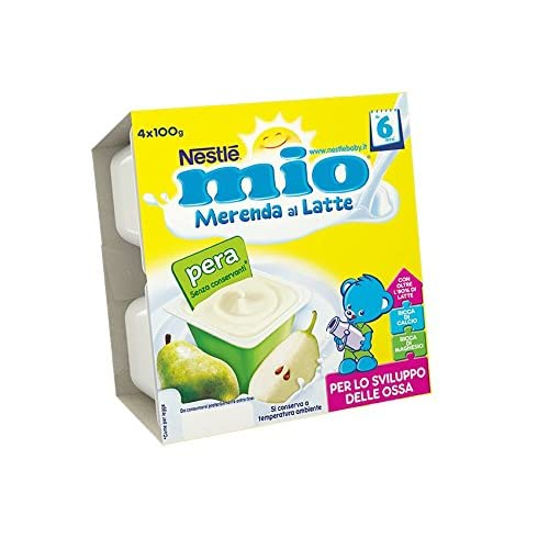 Nestlé Mio Merenda al Latte Pera senza Glutine da 6 Mesi 4 Vasetti Plastica da 100 gr [400 gr]