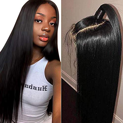 Straight Human Hair Wigs with Pre Plucked Hairline 150% Density Brazilian Straight Lace Front Wigs Human Hair 4X4 Closure Wigs for Women Natural Color 18Inch