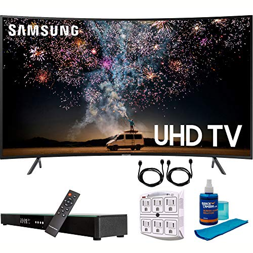 """Samsung UN55RU7300 55"""" RU7300 HDR 4K UHD Smart Curved LED TV (2019 Model) with Home Theater Surround Sound 31"""" Soundbar Bundle Includes Screen Cleaner + 6-Outlet Surge Adapter + 2X HDMI Cable Black"""