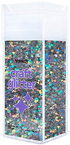 Hemway Glitzer-Streuer für Kunsthandwerk, Tumbler, Schule, Papier, Glas, Dekorationen, DIY-Projekte – 3 mm – 130 g Holografisches Gun Metal