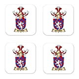 Bittner De Bitterthal Family Crest Square Coasters Coat of Arms Coasters - Set of 4