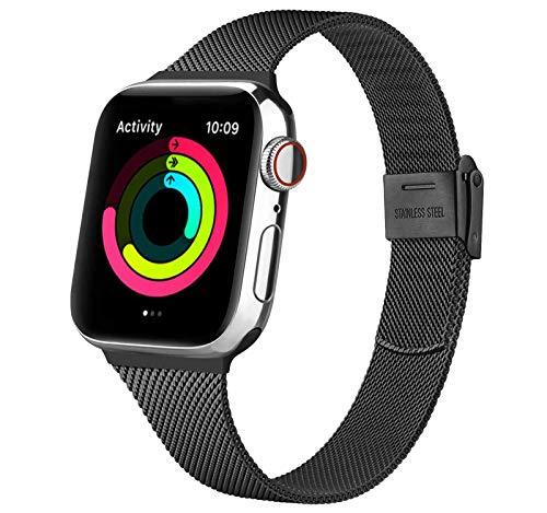 Acciaio Cinturino per Apple Watch Cinturino 38mm 40mm 42mm 44mm, Metallo Sottile Cinturini Compatibile con Apple Watch iWatch Series 6 5 4 3 2 1 SE, con Strumenti (Nero 38/40MM)