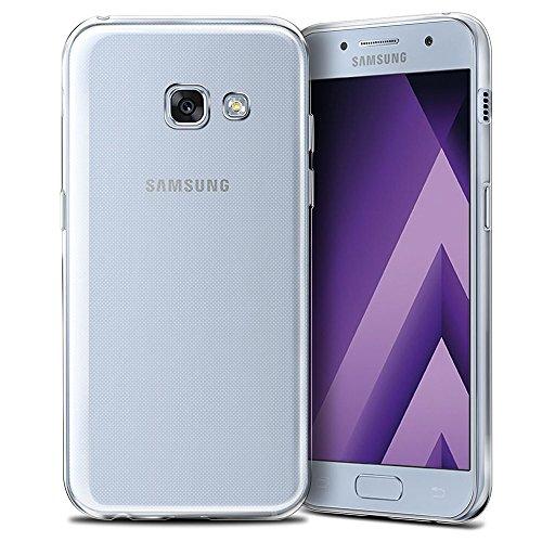 REY Funda Carcasa Gel Transparente para Samsung Galaxy A3 2017, Ultra Fina 0,33mm, Silicona TPU de Alta Resistencia y Flexibilidad