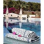 "Flaxbel Linen Flax Organic Bath Towel Esmeralda Blue 32"" X 59"" - Soft Quick Drying Luxury Bath Towels - Enjoy at Home, Gym, Spa, Yoga and When Traveling - Large Bath Towels Rolled Near Pool"